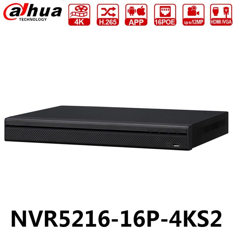 Dahua Original NVR5216-16P-4KS2 avec Logo 16CH 12MP 1U 16POE 4 K H.265 Lite Réseau Enregistreur Vidéo Mise À Niveau de NVR4216-16P-4KS2