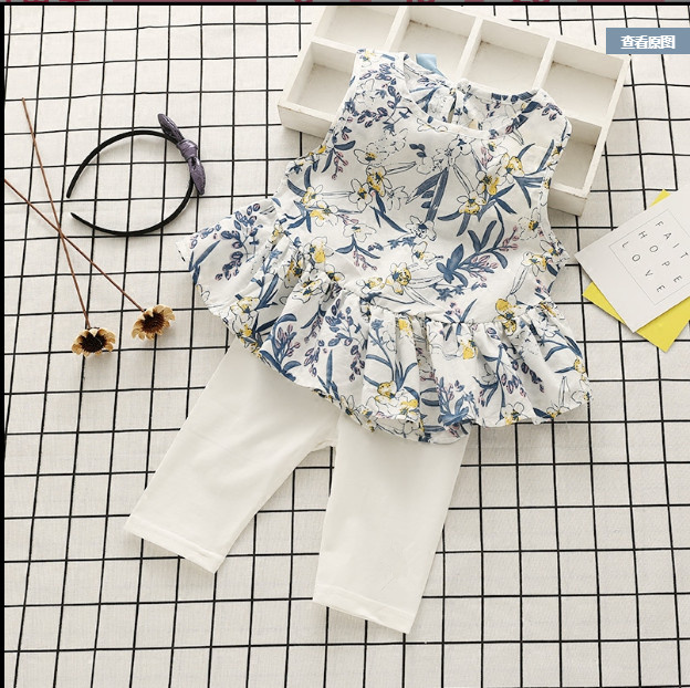 2pc Casual Kids Clothing Baby Girls Clothes Sets Summer cat Girl Tops Shirts + Shorts Suits Childrens Clothin 4