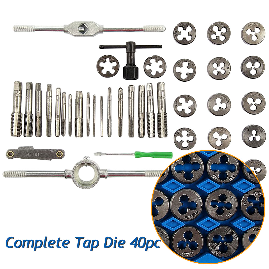 New 40pcs Tap Die Set M3-M12 Screw Thread Metric Taps Wrench Dies DIY Kit Wrench Screw Threading Hand Tools Alloy Metal With Box
