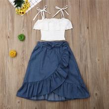 Детская одежда Pudcoco/комплект из 2 предметов для маленьких девочек, кружевной топ на бретельках+ длинная джинсовая юбка с оборками комплект одежды для девочек