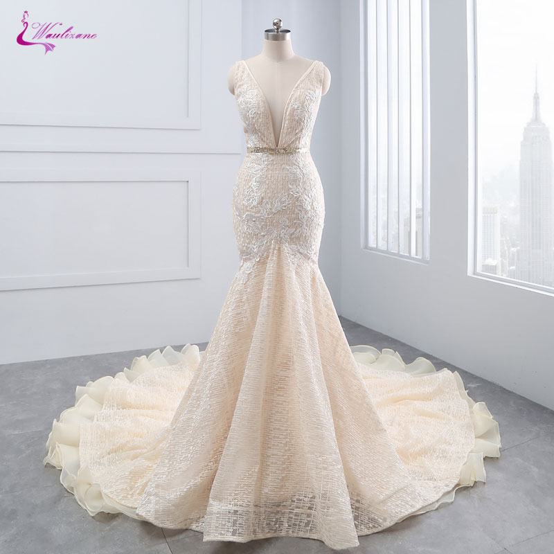 Waulizane New Arrival Sexy Deep V-Neck Mermaid Wedding Dresses Beading Crystals Sashes Backless Tiered Ruffles Unique Lace Gowns