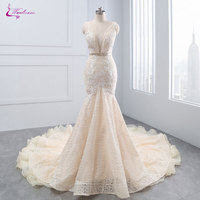 Waulizane New Arrival Sexy Deep V Neck Mermaid Wedding Dresses Beading Crystals Sashes Backless Tiered Ruffles Unique Lace Gowns