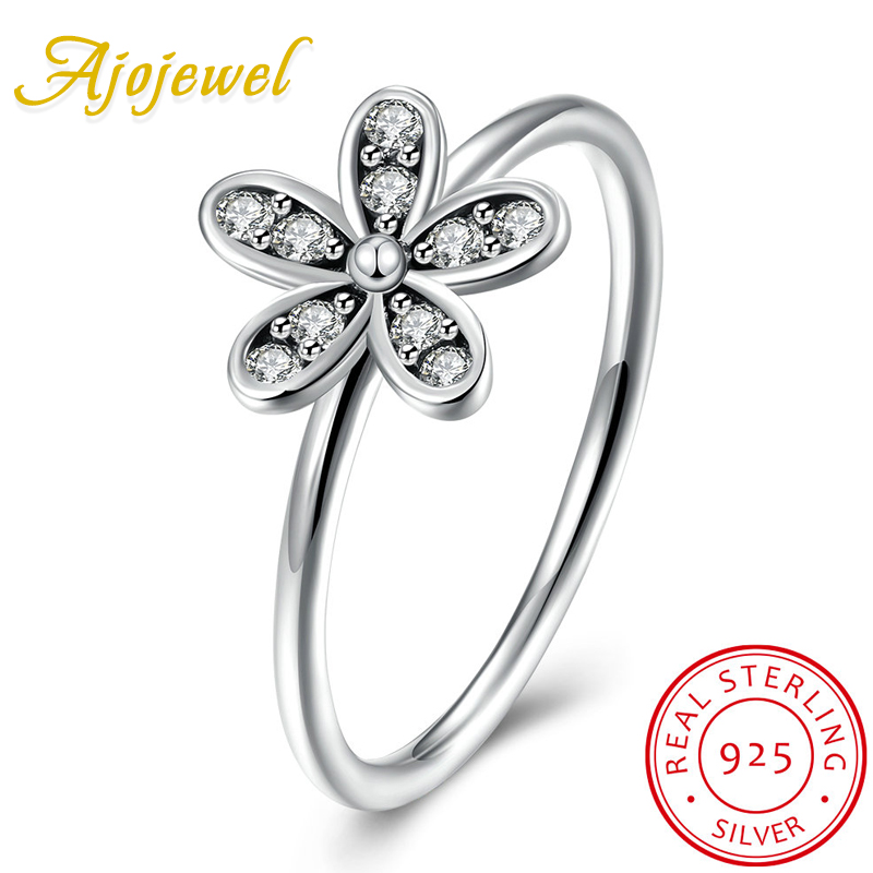 Ajojewel Vintage Style Womens 925 Sterling Silver Ring Flower Jewelry AAA Cubic Zircon Antique Finger Ring 2017 Gifts