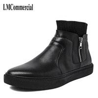 Męskie wysokie buty wysokie na pedał trend Koreańskich wszystko meczu młodzieżowych męska elastyczne skarpetki buty na suwak mężczyzn skórzane buty oddychająca