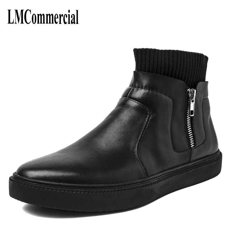 Men's high shoes high for a pedal trend of Korean all-match youth men's elastic socks boots zipper men leather boots breathable the first layer of leather shoes and a pedal comfort all match full leather comfortable foot leather bottomed women shoes