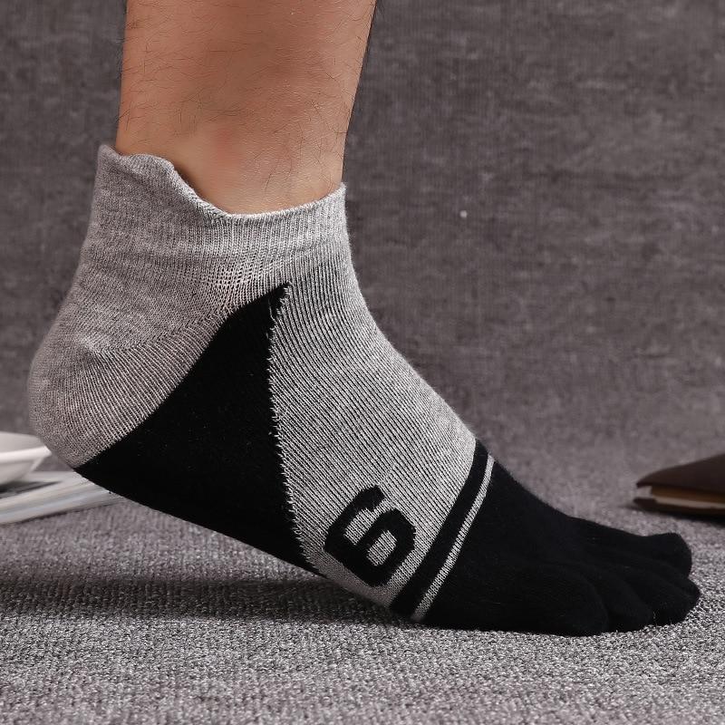 5 Pairs/lot Mens Socks Cotton Five Finger Socks Toe Socks Ankle Sok