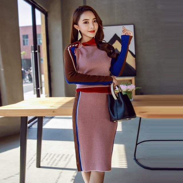 a256946373 Casual Plaid Knitted Skirt Sets 2019 New Autumn Winter Fashion Elegant 2  Piece Set Women Sweater