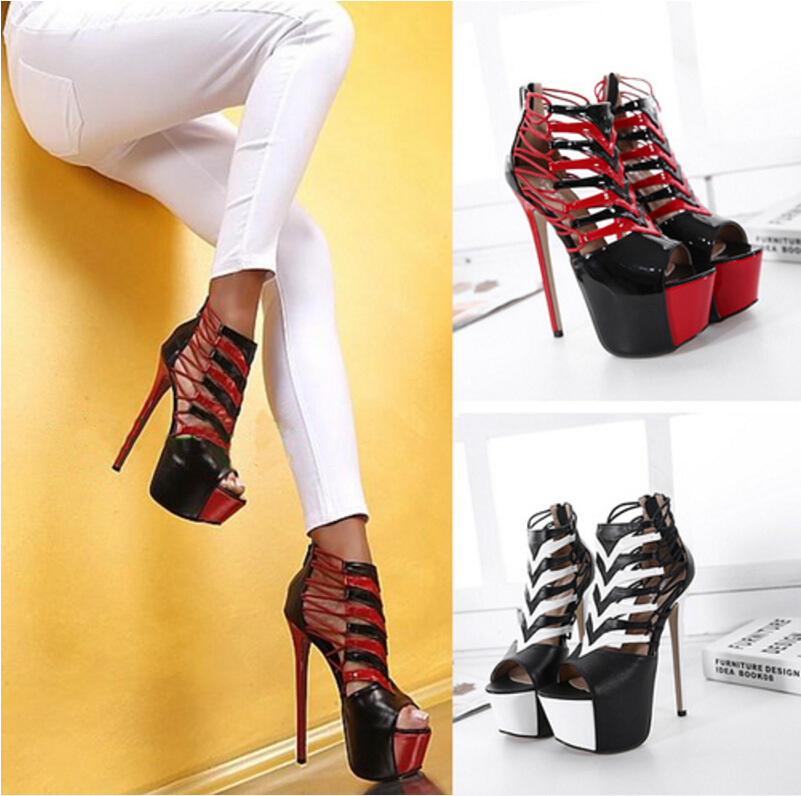 ФОТО Free shipping 2017 Spring Europe new Spell color Narrow Band Platform fashion pumps women high quality shoes heel 16cm