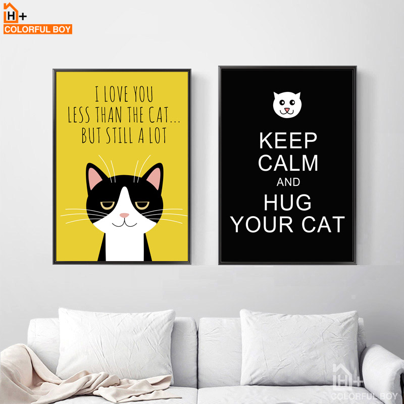 COLORFULBOY Black Cats Canvas Wall Art Nordic Posters And Prints ...