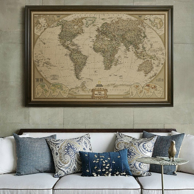 Executive World Push Pin Travel Map with Black Frame and Pins ...