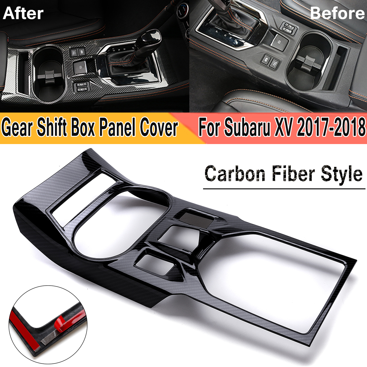Carbon Fiber Style ABS Interior Gear Shift font b Box b font Panel Overlay Cover Trim
