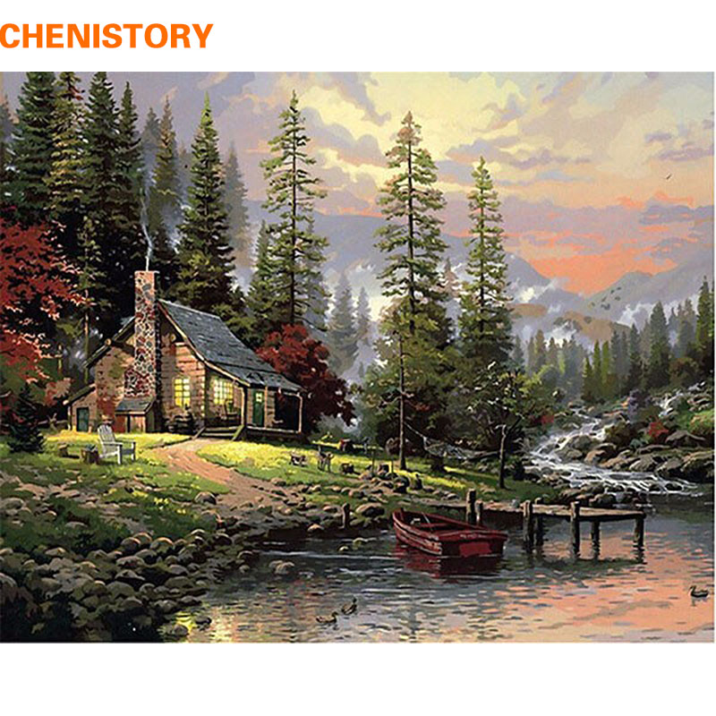 CHENISTORY DIY Painting By Numbers Home Decor Hand Painted Landscape Canvas Painting Unique Wall Art Picture 40 * 50cm Countryside