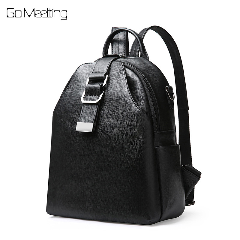 Go Meetting Women Genuine Leather Backpack Female Teenage Girls School Backpacks Large Multifunction Mochila Solid Shoulder Bag fashion gold leather backpack women black vintage large bag for female teenage girls school bag solid backpacks mochila xa56h