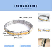 FINE4U B039 Men's 316L Stainless Steel Chain Link Bracelet