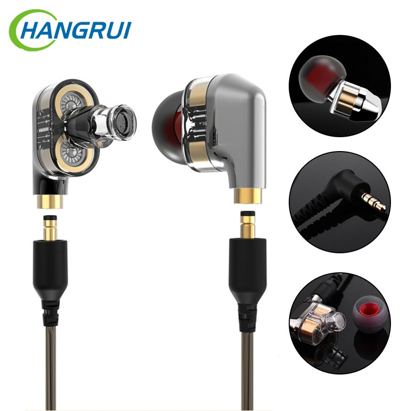 Mini Dual Driver Earphone Professional HIFI Deep Bass Earphone With Mic Dual Driver Noise Lisolating Earbuds