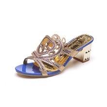 YeddaMavis Blue Rhinestones Slippers Women Shoes 2019 Summer Fashion Flip Flops Womens Woman Size 35 -41