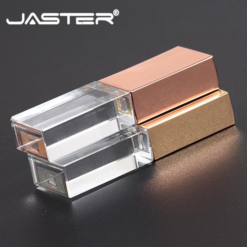 JASTER Crystal Usb 2.0  Custom Logo  4GB 8GB 16GGB 32GB 64GB Usb Flash Pendrive  Transparent Glass