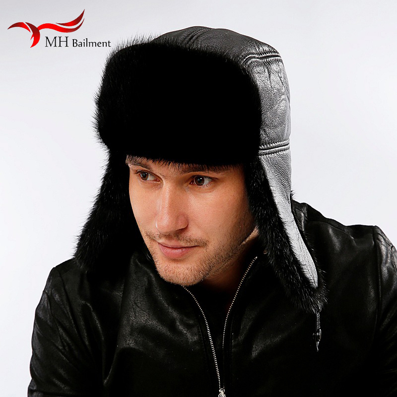 Men's real mink fur caps earmuffs windproof snow mink fur style hat fashion mens winter cap with earflaps warm hats for ear men