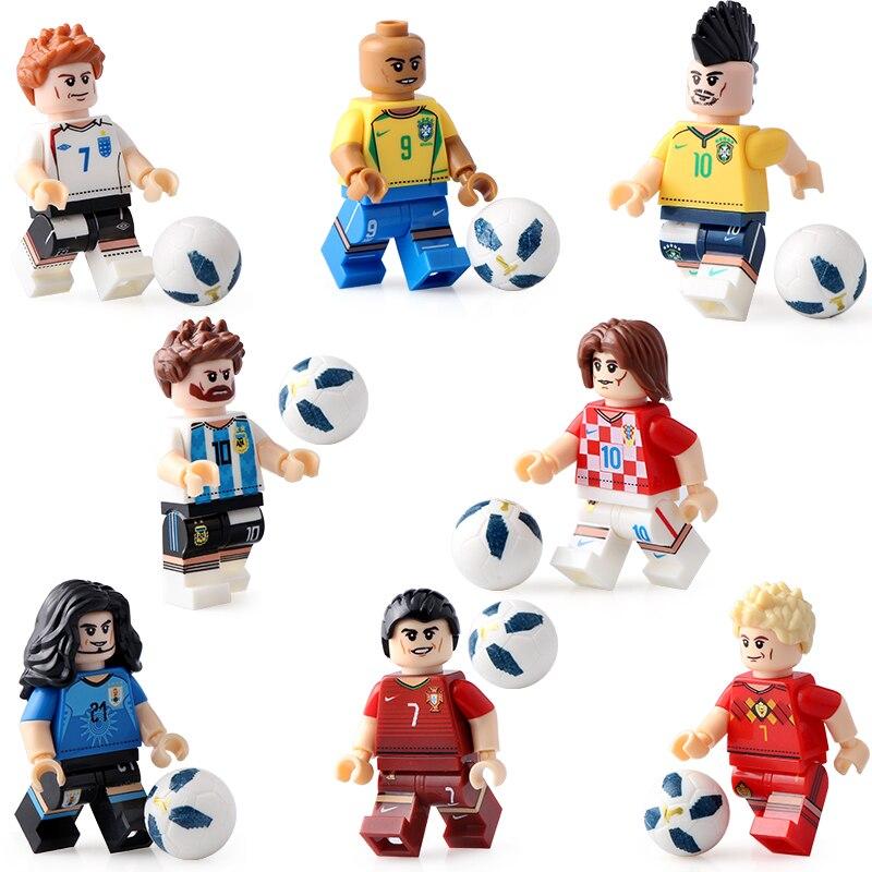 2018 jugador de fútbol figura Spartak Moscú Argentina Player team Building Blocks ladrillos modelo niños juguetes Compatible Legoings