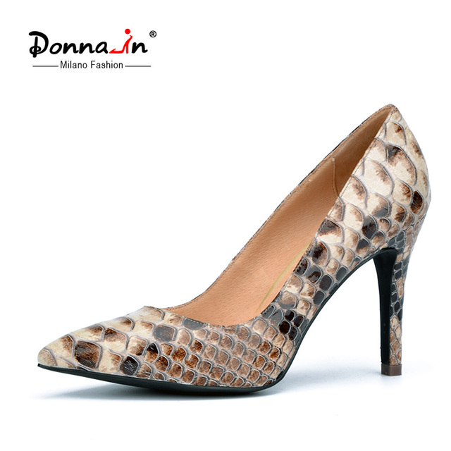Donna in 2016 spring new collections thin and high heel pumps python skin leather ladies shoes  pointed toe women's pumps