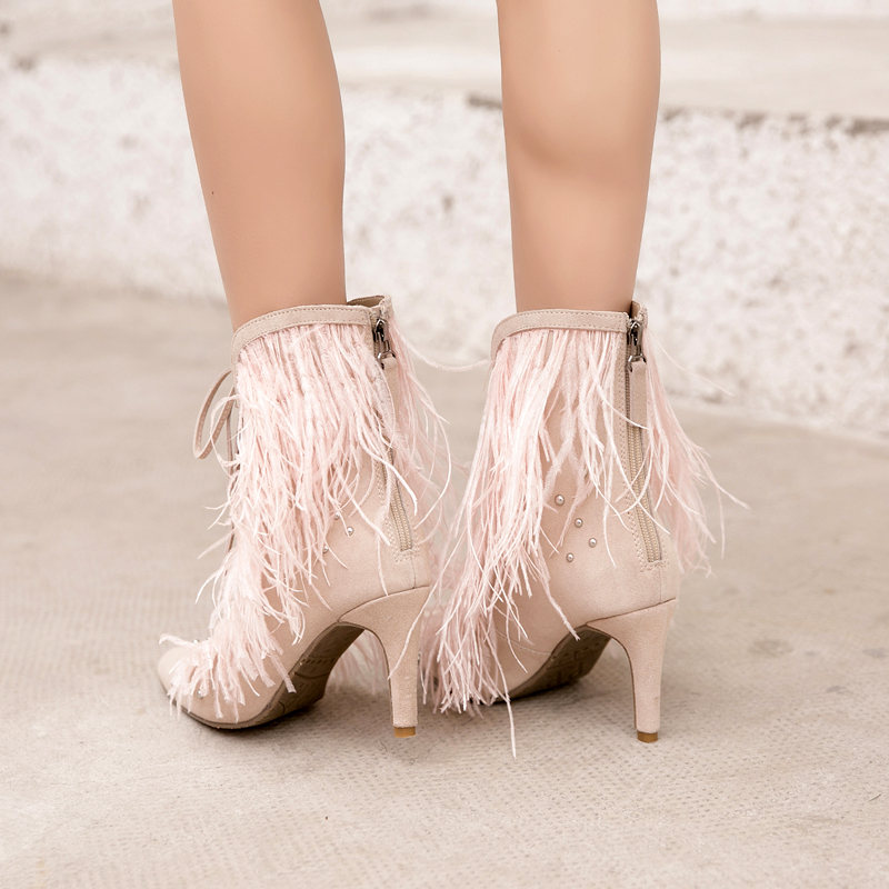 Tacón Botas Zapatos Tobillo Mujeres Borla Gamuza Cruz Sexy Prova Atado Punta Hueco Beige rojo De Perfetto Cuero P1WYnqvnT