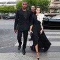 2015 el más nuevo diseño Kim Kardashian alfombra roja se viste Scoop media manga de la flor con la celebridad de la tarde vestidos