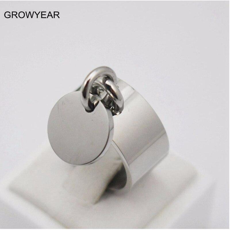 316L из нержавеющей стали для женщин ювелирные изделия 10 мм широкий коктейль может кольцо с гравировкой Польский Серебро Цвет круглые кольца,...