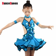2017 Latin Dance Dress For Girls Blue Sequins Kids Clothing For Dance Wear Cha Cha/Rumba/Samba/Tango Dress Dancewear Latin Skirt
