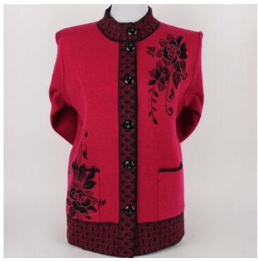 2017 Herbst Frauen Strickjacke Gesetzte Schneckenwelle Pullover Langarm Mode Lässig Hohe Qualität Mittleren Alters Und Alte Frauen Pullover