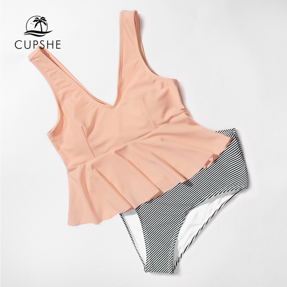 CUPSHE Pink Peplum And Striped Bikini Sets Women Ruffle High-waist Two Pieces Swimsuits 2020 Girl Beach Boho Bathing Suits