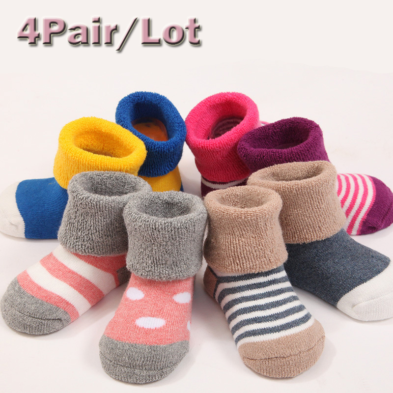 100% Cotton 4Pair Infant Baby Children Socks Suitable 0M-3Year Infant Newborn Sock Four Kind Color Style Kid Childrens Clothing
