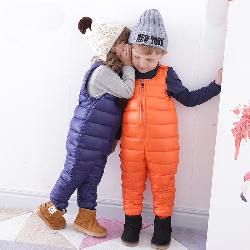 ФОТО Autumn and Winter New Style Kids Bib Pants toddler baby boys girls thick warm trousers Casual Sport Overall Pant Unisex