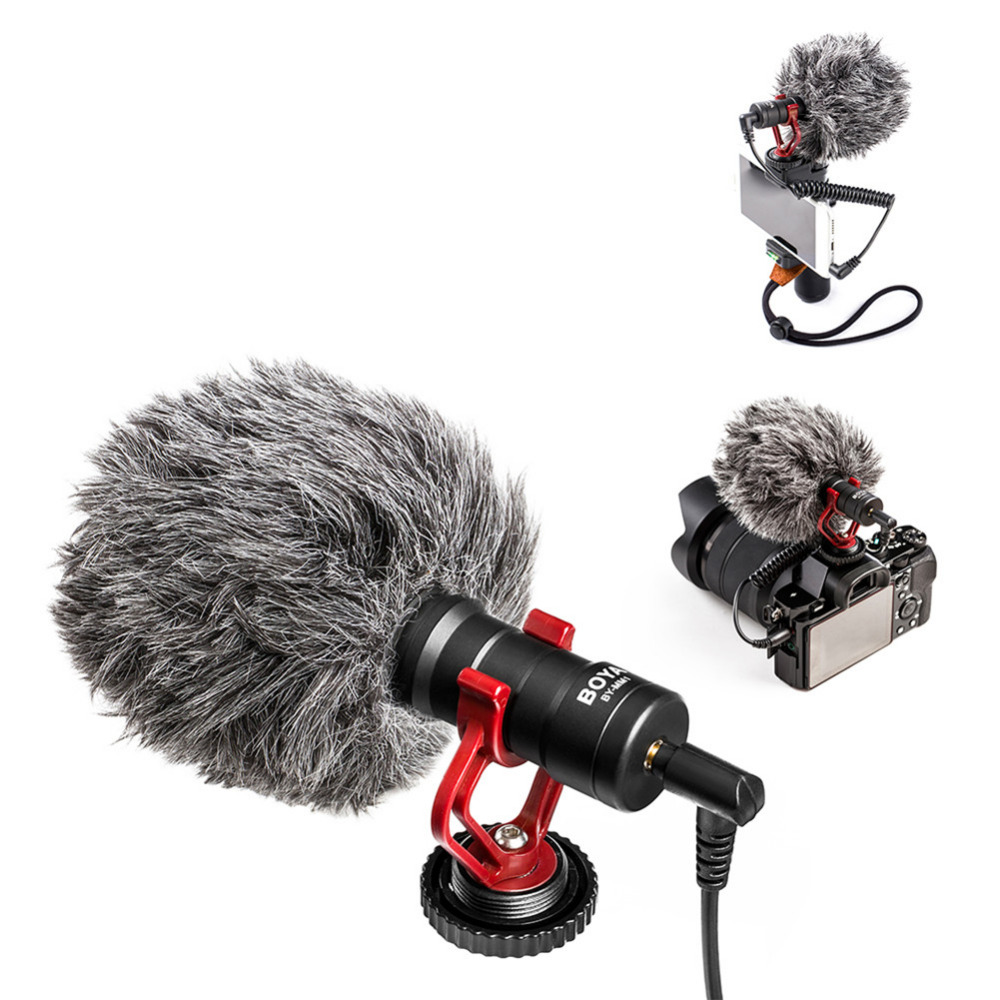 BOYA BY-MM1 Professional Condenser Microphone for Camera with Wind Protection for Smart Phone Macs Audio Recorders цена