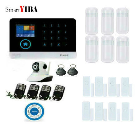 SmartYIBA Smart Wireless Home Alarm System WIFI GSM GPRS Burglar Security Alarm System With Video IP Camera PIR Motion Sensor yobang security wifi gsm home security alarm system with ip camera digital alarm with wireless intelligent pir motion wifi alarm