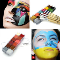 IMAGIC Halloween Face Body Paint Oil Painting Art Cosmetic Make Up Set Tools Party Fancy Dress 12 Flash Tattoo Color+6pcs Brush