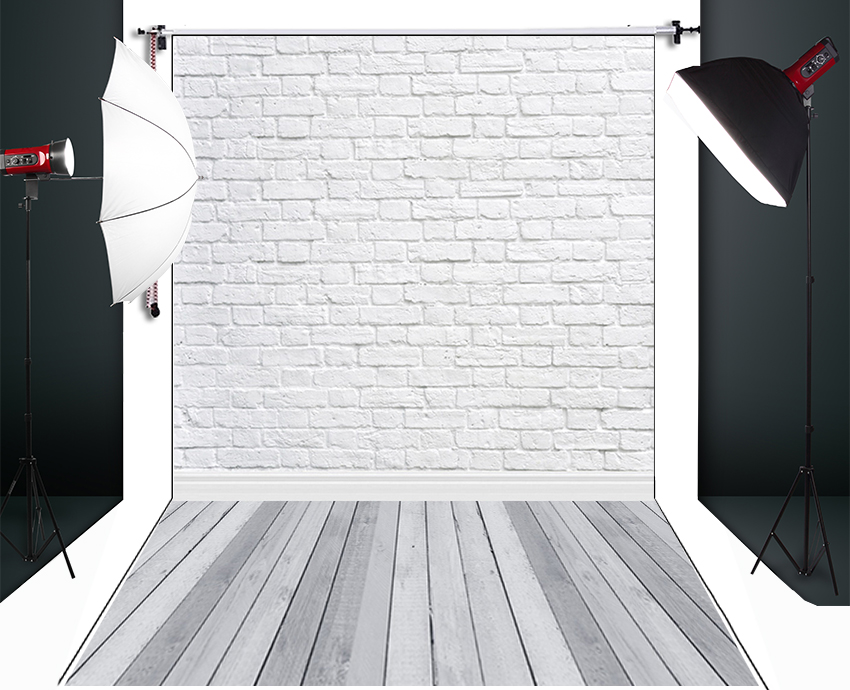 HUAYI White Brick Wall Photography Backdrop Scenery Custom Photo Portrait Studios  Background  D-9713