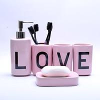 Cute Ceramics Bathroom Set Five Pieces of Sanitary Ware Gargle Toothbrush Cup BathroomGadgets Soap Box SoapDish Seifenspender