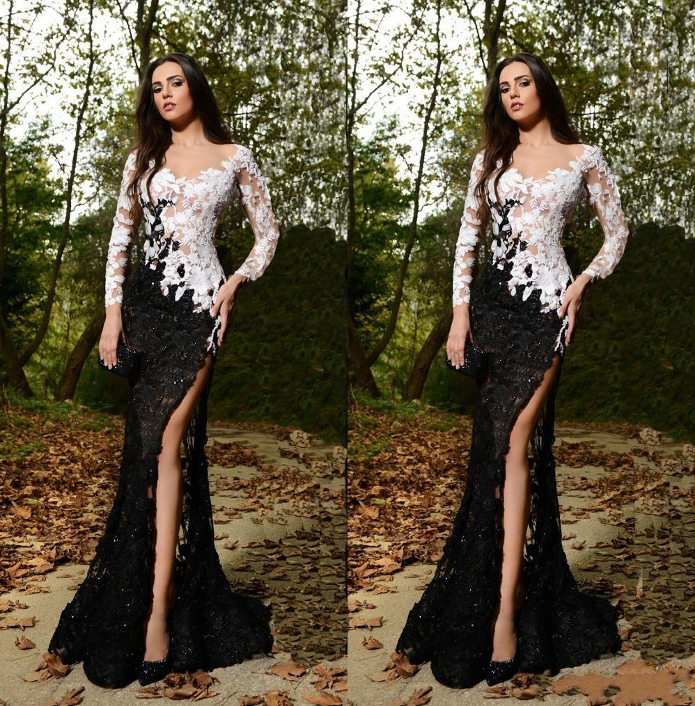 2017 Sexy Rami Salamoun Full Lace   Evening     Dresses   V-Neck Long Sleeve Prom Gowns Elegant Side Split Long Party   Dresses   X-22