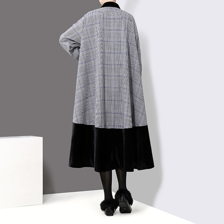 À Plaid Col Lâche Pour Commune Noir Printemps Longues Black Mode Grande Femmes Robe Montant Jd029 Fendue Taille Shengpalae 2019 Velours Nouveau Manches OqtPnXz