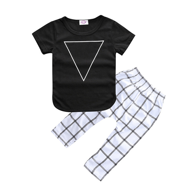 2017 New Summer 2Pcs Cotton Baby Clothing Newborn Baby Boys Kid Triangle Pattern Arrow Tops T Shirt +Pants Outfits Babys Sets