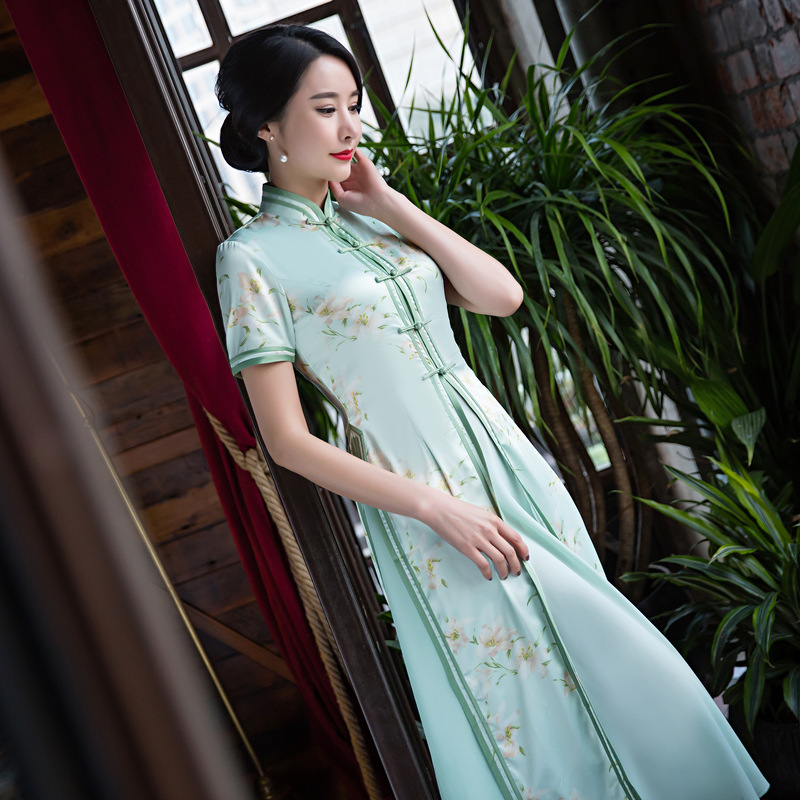 Ao Dai Qipao Long Cheongsams Dress Two Pieces Chinese Traditional Dress Plus Size Summer Flowers Vintage Dress Oriental Robes