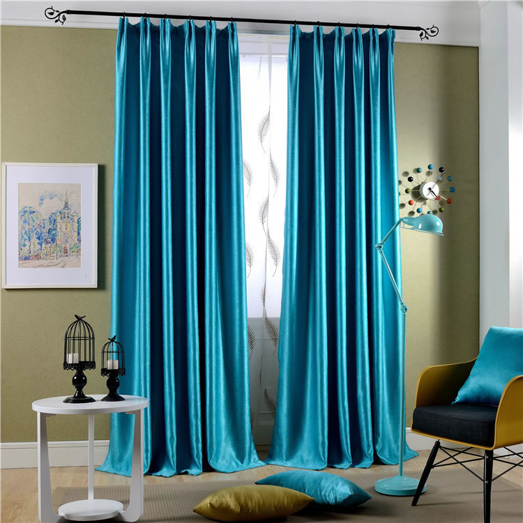 fashion high quality blackout curtains for the bedroom blue cloth