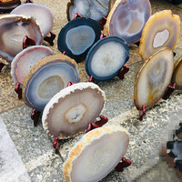 Natural Crystal Gem Stone Rough Agate Slice for Coaster