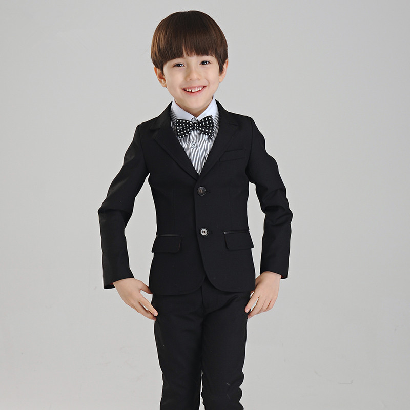 830d524df41b5 US $41.36 6% OFF|Top Quality Boys Black Blazer 4 pcs/set Wedding Suits for  Boy Formal Dress Suit Prom Suits Toddler Boys Blazers-in Blazers from ...
