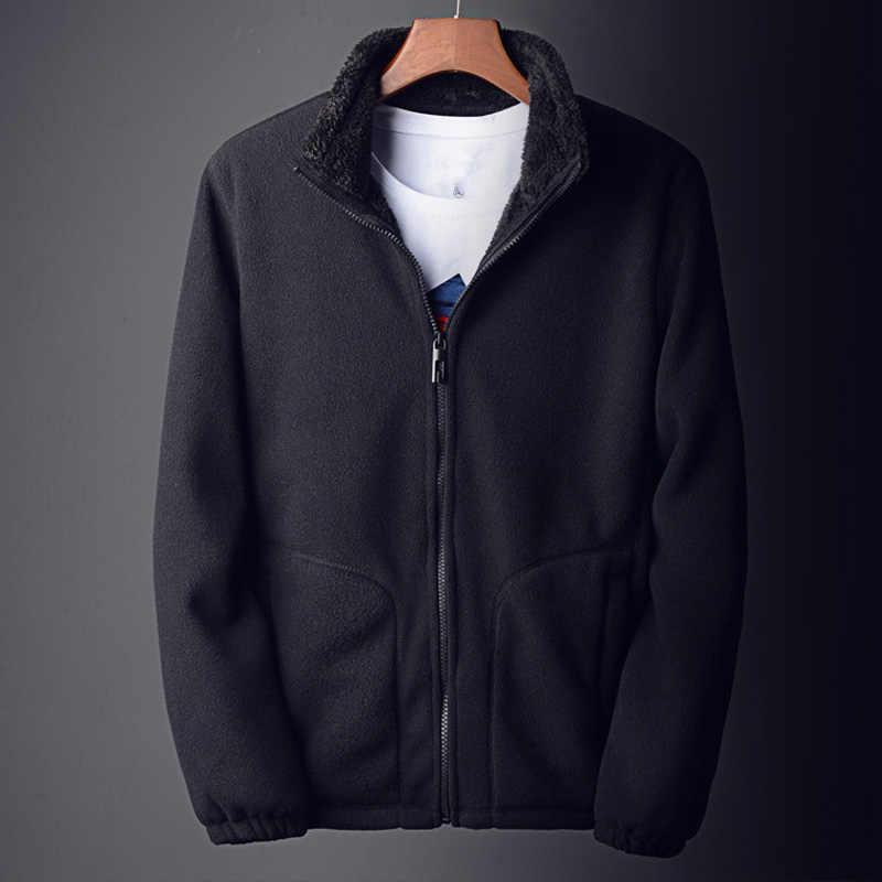 Casual Solid Color Warm Winter Jacket Men 2018 Black Long Sleeve Slim Coat Plus Size Cashmere Windbreaker Zipper Blue Jacket Men