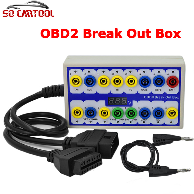buy obdii breakout box obd obd2 break out box car protocol detector auto can. Black Bedroom Furniture Sets. Home Design Ideas