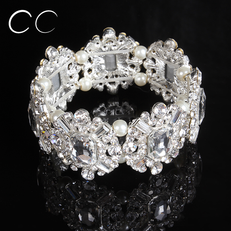 Charming luxury wedding jewelry for brides pearl austrian crystal bracelets bangles for women party fashion jewellery E015