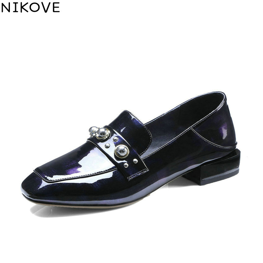 NIKOVE 2018 Women Pumps Patent Leather PU Western Style Square Heels Square Toe Slip on Casual Low Heels Women Shoes Size 34-42 2018 patent leather slip on keep warm pumps for women square toe preppy style pearl wedding med heels brand winter shoes l18