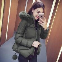 Осень и зима новый 2016 Корейской версии свободную с капюшоном женщин короткий параграф толстый теплый хлопок куртка волна
