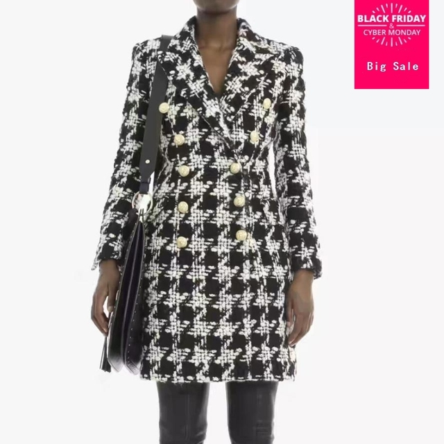 2018 autumn winter new women blazer coat metal buckle houndstooth tweed woolen hair slim long jacket outwear overcoat L1355